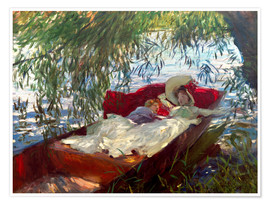Premium poster Lady and boy, in a boat under pastures