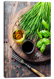Canvas print  Herbs and spices on wooden board
