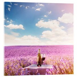 Acrylglas print  Red wine bottle and wine glass in lavender field