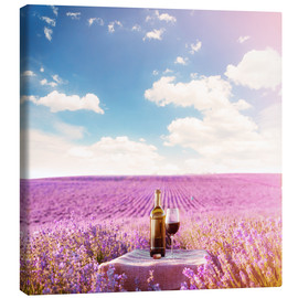 Canvas print  Red wine bottle and wine glass in lavender field