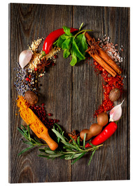 Acrylglas print  wreath of spices and herbs