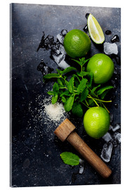 Acrylglas print  Mojitos (ice cubes, mint, sugar and lime)