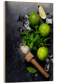 Hout print  Mojitos (ice cubes, mint, sugar and lime)