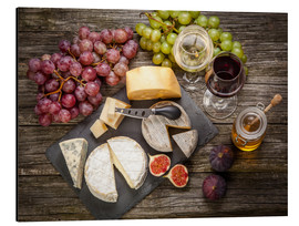 Aluminium print  Wine and cheese still life