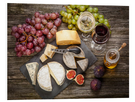 PVC print  Wine and cheese still life