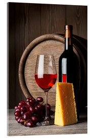 Acrylglas print  Red wine with cheese and grapes