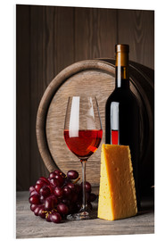 PVC print  Red wine with cheese and grapes