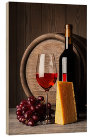Hout print  Red wine with cheese and grapes