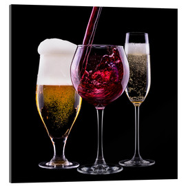 Acrylglas print  drinks - beer, wine and champagne