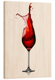 Hout print  Red Wine Glass