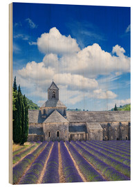 Hout print  Sénanque abbey with lavender field, Provence, France