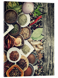 Acrylglas print  Spices And Herbs On Rusty Old Wood