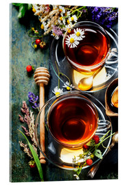 Acrylglas print  Herbal tea with honey, berry and flowers