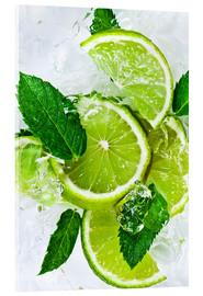 Acrylglas print  lime slices with ice and peppermint leaves