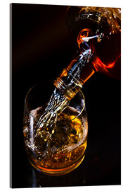 Acrylglas print  whiskey and ice on a glass table