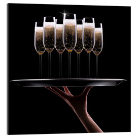Acrylglas print  hand with champagne
