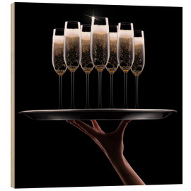 Hout print  hand with champagne