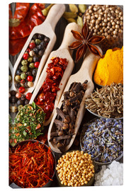 Canvas print  Colorful aromatic spices and herbs