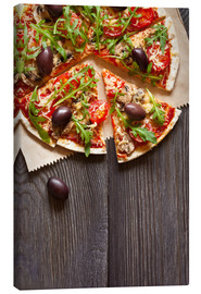 Canvas print  Pizza with mushrooms and arugula