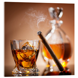 Acrylglas print  Cigar on glass of whiskey with ice cubes