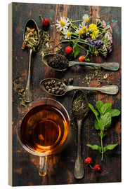 Hout print  Tea with honey, wild berries and flowers
