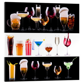 Acrylglas print  drinks - beer, wine, cocktail, juice, champagne, scotch, soda