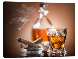 Canvas print  Glass of whiskey and a cigar