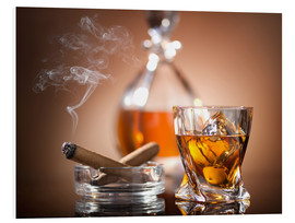 PVC print  Glass of whiskey and a cigar