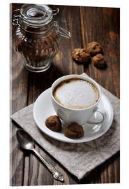 Acrylglas print  Cup of coffee with cookies