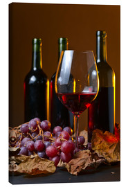 Canvas print  red wine with grapes and vine leaves