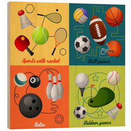 Hout print  Do some sports - Kidz Collection