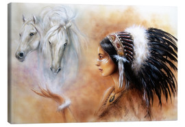 Canvas print  American Indian with horses