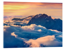 Acrylglas print  Sunrise on a foggy Val di Fassa valley with passo Sella, Dolomites