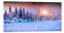 Acrylglas print  winter sunrise in the mountain forest