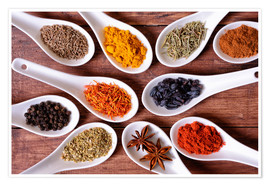 Premium poster Spices in ceramic bowls