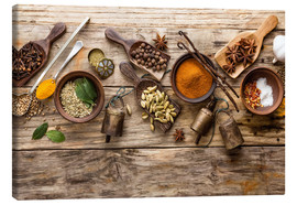 Canvas print  Spices and kitchen utensils