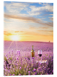 Acrylglas print  Bottle of wine in lavender field