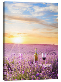 Canvas print  Bottle of wine in lavender field