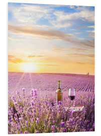 PVC print  Bottle of wine in lavender field
