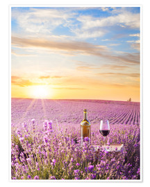 Premium poster  Bottle of wine in lavender field