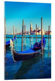 Acrylglas print  Gondolas in lagoon of Venice on sunrise