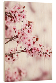 Hout print  flowering fruit tree