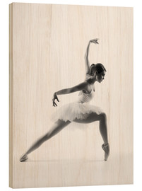 Hout print  Beautiful ballet dancer