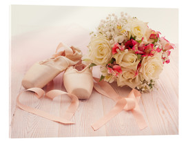 Acrylglas print  Ballet shoes with bouquet