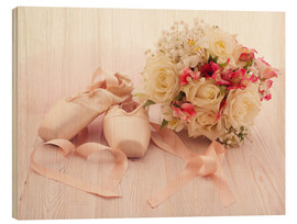 Hout print  Ballet shoes with bouquet