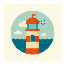 Premium poster  Lighthouse in a circle - Kidz Collection