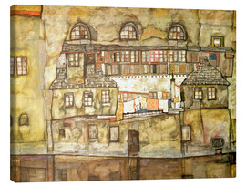 Canvas print  house wall on the river - Egon Schiele