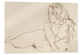 Acrylglas print  Supporting herself, Female with long hair - Egon Schiele