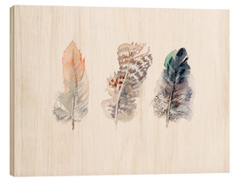 Hout print  3 feathers - Verbrugge Watercolor