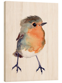 Hout print  Baby robin in watercolour - Verbrugge Watercolor